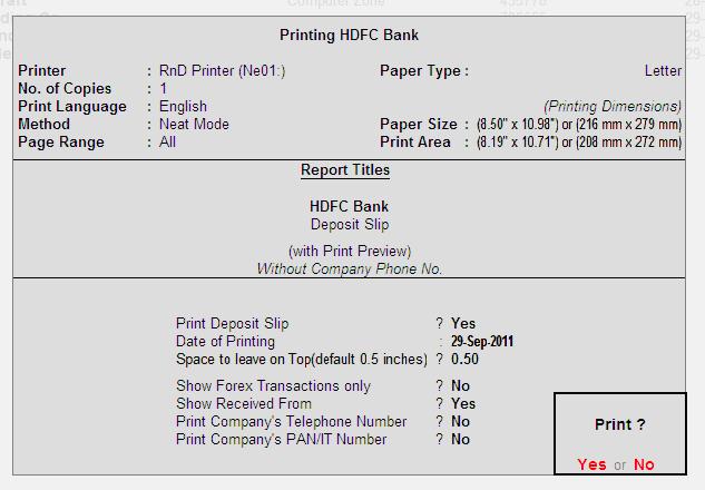 deposit slip printing